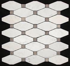 byzantine design - Carrara honed long octagon with grey marble dot Carrara, Mosaic, Marble, Dots, Grey, Byzantine, Beautiful, Bathrooms, Tiles