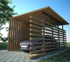 Timber carport, contemporary design