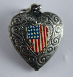Vintage Silver silver Puffy Heart Charm Enamel USA American Flag 1940's