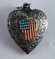 Vintage Silver silver Puffy Heart Charm Enamel USA American Flag 1940's