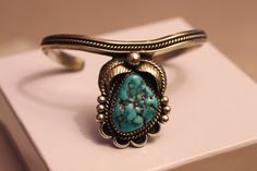 Natural Turquoise and Sterling Silver Navajo Cuff by gemforjoy