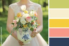 Wedding Color Inspiration: Happy + Hopeful Yellow - The Pink Bride Pink Yellow Weddings, Yellow Wedding Colors, Wedding Color Schemes, Green Color Schemes, Peach And Green, Wedding Planning, Wedding Tips, Wedding Decor, Pink White