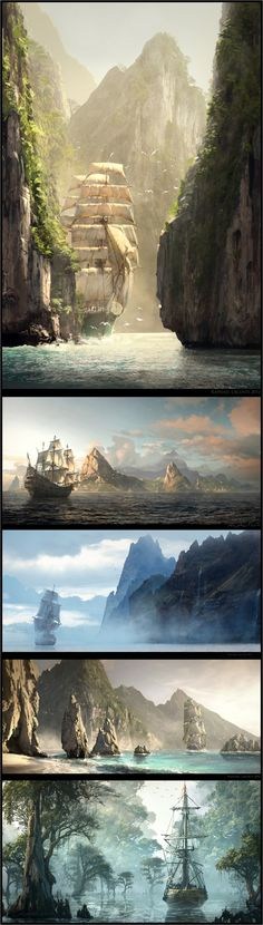 Concept art for Assassin's Creed IV: Black Flag by artist Raphael Lacoste. So cool