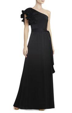 BCBGMAXAZRIA Mel One-Shoulder Long-Length Dress | BCBG.com