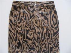 Skirt Sz 8 Straight Skirt Brown Black Above Knee Animal Print Polished Cotton $14.99 #CHAPSStraightSkirt #StraightPencil