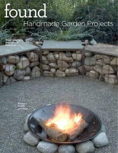 Gabions filled with large pebbles or stones make great seats tables too! Also love the fire bowl.