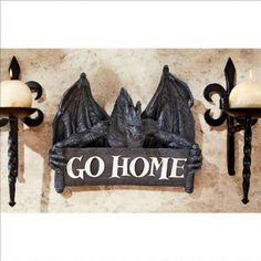Medieval Fantasy Dragon Gothic Wall Sculpture Welcome Sign Saying Go Home  #tosc