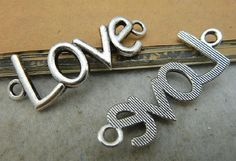 10pcs Antique Silver  Curved LOVE for bracelet A2015 by ministore, $3.55