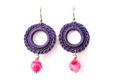 Handmade Violet Crochet Earrings  https://www.etsy.com/listing/129358099/orecchini-celesti-ad-uncinetto-con?ref=shop_home_active