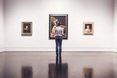 art, gallery, paintings, frames, wall, hardwood, floor, girl, woman, people