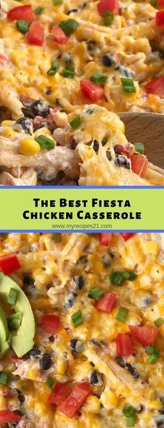 The Best Fiesta Chicken Casserole #casserole #chicken #breakfast