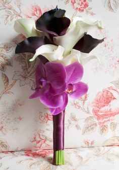 Plum and Fuchsia Orchid and Calla Lily Bouquet - Tropical Real Touch Wedding Bouquet. $75.00, via Etsy.