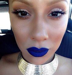 Purple lips dewy skin