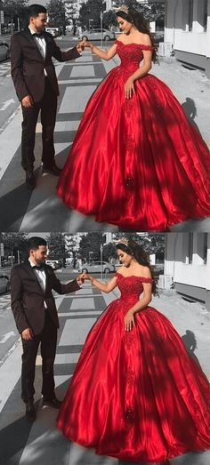 red ball gowns for sweet 16 prom, chic quinceanera dresses with appliques.