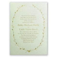 simple vines and leaf wedding invitation in gold foil