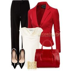 Business outfit | Basic black & white popped with red. Dramatic and could be perceived as intimidating.