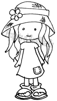 Digital Stamp  girl in hat  digistamp JPG and PNG by BevsWhatEv, $2.00