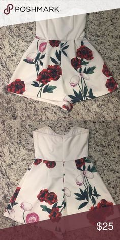 Sweetheart neckline mustard see boutique romper. Sweetheart neckline mustard see boutique romper. White with floral design on bottom. Only worn one time for a few hours. Mustard Seed Other