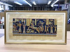 Egyptian Papyrus Drawing framed using a raised mount with artwork floated onto board. Framed using a hand rubbed Opera gold moulding and Truecolour glass. Egyptian Drawings, Egyptian Art, Drawing Frames, Custom Framing, Picture Frames, Moulding, Glass, Artwork, Opera