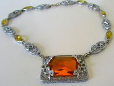 1920s Vintage Necklace Silver Filigree  with by nanascottagehouse