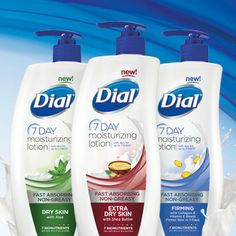 """Try Dial® 7 Day Moisturizing Lotion Today!"" I entered to win. Enter Now! NEW Dial® 7 Day Moisturizing Lotion is the first moisturizing lotion that leaves your skin soft for up to 7 days, and you could be one of the first to try it! Register for your chance to get a sample."