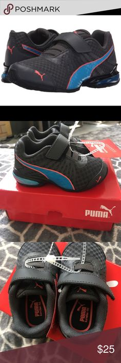 BRAND NEW KIDS PUMA SNEAKERS SIZE 5C Kids New Puma Sneakers size 5C.  Model- Cell Kilter V Kids in asphalt - atomic blue.  These little gems are a charcoal grey with orange and blue detail, they have a Velcro enclosure.  Super cute for little boys or girls Puma Shoes Sneakers