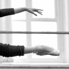Beautiful foot and allongé hand in ballet class