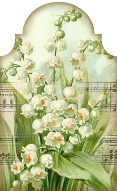 """""""Sweetest of the Flowers"""" ~ lily of the valley and music tag. Tag 3.2"""" x 5.2"""""""