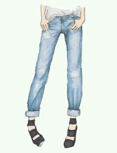 Denim trousers  watercolor