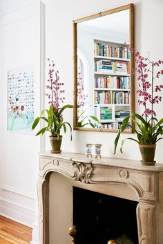 Antique mirror above fireplace in living room with potted plants // Lauren McGrath's New York apartment