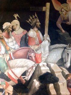 Agnolo Gaddi - La Leggenda della vera Croce: 4 - Decapitazione di Cosroe e entrata di Eraclio in Gerusalemme, dettaglio - affresco - 1380 -1390 - parete sinistra Cappella Maggiore - Basilica Santa Croce, Firenze
