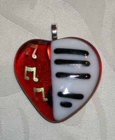 Fused glass heart pendant with piano keys by DragonfliesCeilidh, $20.00