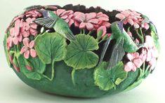by Phyllis Sickles Decorative Gourds, Hand Painted Gourds, Pumpkin Art, Pumpkin Crafts, Ceramic Painting, Ceramic Art, Carved Eggs, Rock Flowers, Cement Art