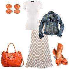 LOLO Moda: Women's Fashionable Maxi Skirts - 2013   Chevron Maxi Skirt - Jeans Jacket - Orange Flat, Earings & Bag