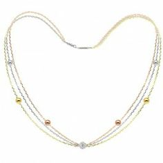 Brimbelle - Yellow, White and Gold Plated Women's White Crystal Necklace