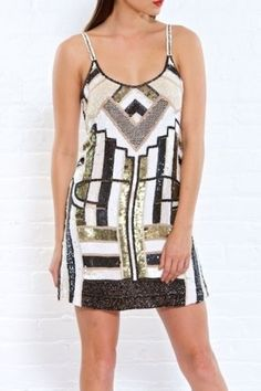 Parker Silk Sequin Hayden Mini Dress - Size Small - Black Gold White  #Parker #Cocktail