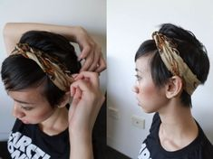 Headscarf how-to: 3 ways! Added added this video I made - it has different styles and will be handy for the more video tutorial-inclined people :) I know this post probably isn't very. Pigtail Hairstyles, Bobby Pin Hairstyles, Headband Hairstyles, Braided Hairstyles, Hairstyle Short, Hair Scarf Styles, Short Hair Styles, Bad Hair Day, Hair Accessories For Women