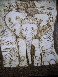 Baby Elephant Pyrographics on Paper Original by Pigatopia