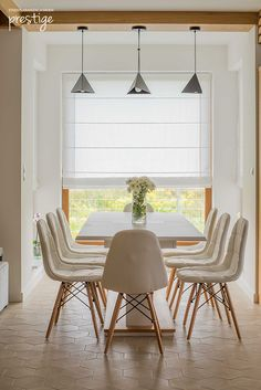 Dining Chairs, Dining Table, Kitchen Blinds, Minimal Home, Small Apartment Decorating, Roman Blinds, Small Apartments, Window Treatments, Minimalism