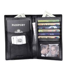 Men's Leather Black Bifold RFID Passport Wallet Travel ID Card Holder Organizer  #teemzone