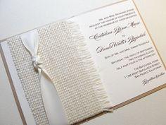 Burlap Wrapped Wedding Reception Invitations, Burlap Wedding Invitations, by Lavender Paperie on Etsy