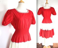 Vintage 1950s Dress // 40s 50s Red and White by TrueValueVintage
