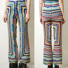 CROCHET Pants Rainbow Granny Square Flares Crochet by cruxandcrow