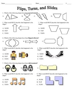 Printables Reflections Worksheet Geometry different shapes dr who and math worksheets on pinterest this file is a student practice or quiz page covering flips turns slides