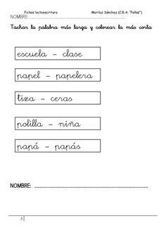 """Fichas lectoescritura Mariluz Sánchez (C.R.A. """"Peñas"""") 3 NOMBRE:............................................................."""