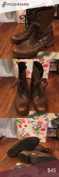 Steve Madden Troopa Boots size 10 Steve Madden Troopa Boots size 10. Chestnut leather. Lace up the front. Zips up the back. Very good condition. Steve Madden Shoes Combat & Moto Boots