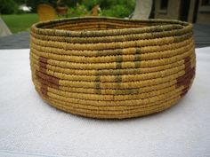 """Antique Arts and Crafts Indian Style Coil Basket 8 5"""" x 3 5"""" CR 1900s 