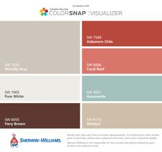 Color scheme I created using these colors with ColorSnap® Visualizer for iPhone by Sherwin-Williams: Worldly Gray (SW 7043) for wall color, Pure White (SW 7005) for trim and ceiling, Fiery Brown (SW 6055) our furniture color, Habanero Chile (SW 7589) for accent color, Coral Reef (SW 6606) for accent color, Aquaverde (SW 9051) for accent color, and Malabar (SW 9110) for accent color.