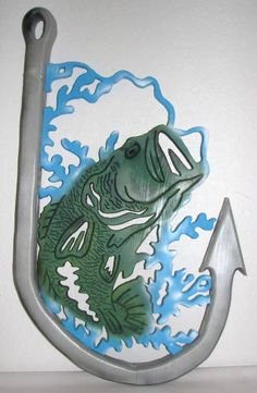 Wood scroll saw wall art of bass in hook - perfect for lodge or cabin
