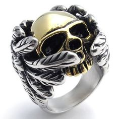 KONOV Jewelry Stainless Steel Band Gothic Wing Skull Biker Men's Ring, Color Gold Silver - Size 7 (with Gift Bag) KONOV Jewelry,http://www.amazon.com/dp/B00CP82ZOO/ref=cm_sw_r_pi_dp_Yg6Hsb1B14QDGTC1